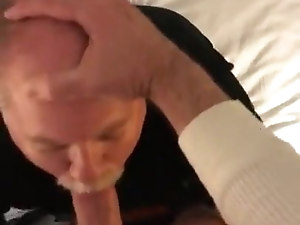 Daddy on his knees giving an amazing blowjob