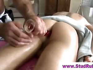 Gay masseur assfucks straight client with dildo