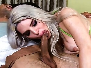 Busty tranny ass banged while jerking until she jizzes