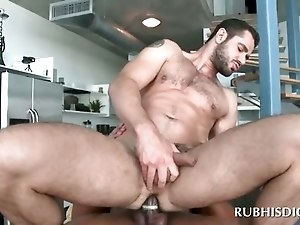 Gay anal sex scene with white stud riding masseurs cock