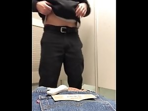 Hung guy cumshot in public dressing room
