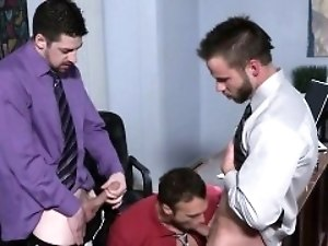 Tattoo gay threesome and cumshot