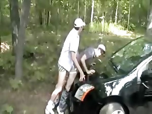 I got my ass roughly fucked in the woods, against the car in this amateur gay porn video. We didn't have lube so we fucked with spit only and I c